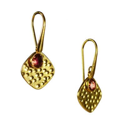 pink tourmaline disc earrings tara