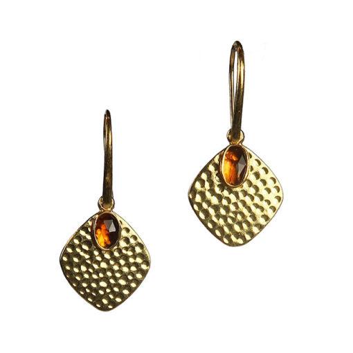 amber tourmaline disc earring