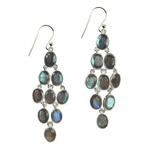 labradorite chandelier earrings silver