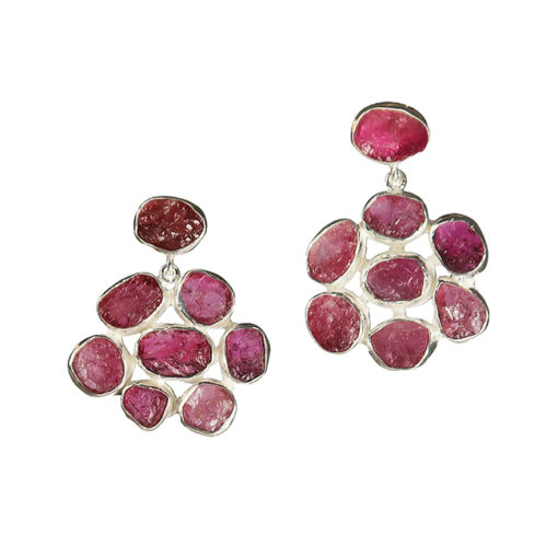 pink tourmaline flower stud earrings silver