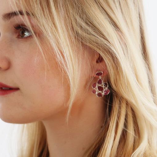 pink tourmaline flower stud earrings silver