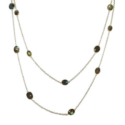 labradorite silver long necklace tara