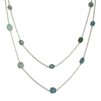 long aquamarine silver necklace tara