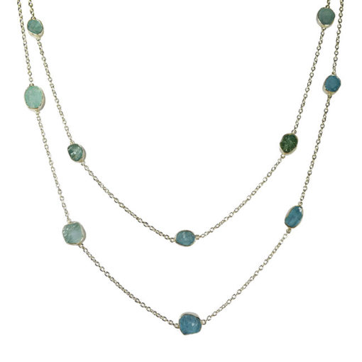 long aquamarine silver necklace tara