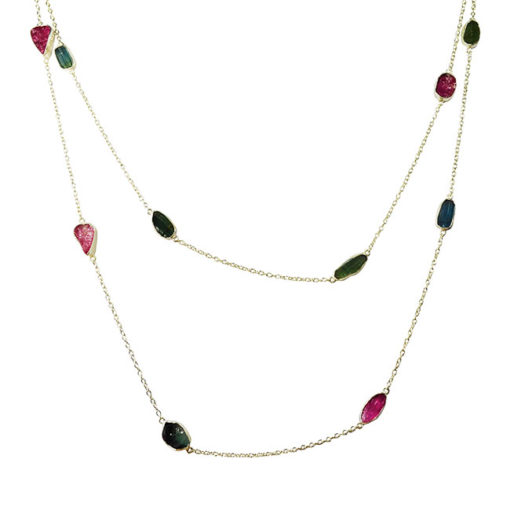long multi tourmaline silver necklace tara