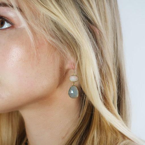 opal aquamarine double drop earrings