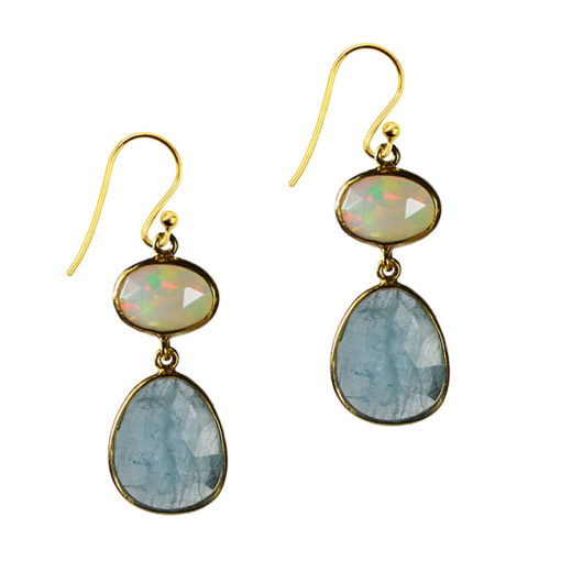 opal aquamarine double drop earrings talitha