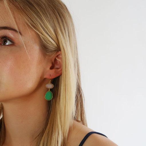 opal chrysoprase drop earrings