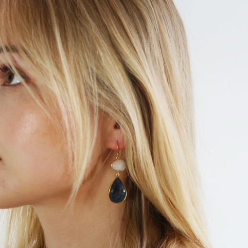 opal sapphire double drop earrings