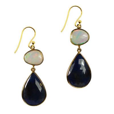 opal sapphire double drop earrings talitha