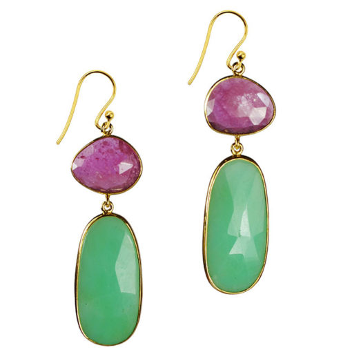 pink sapphire chrysoprase drop earrings talitha