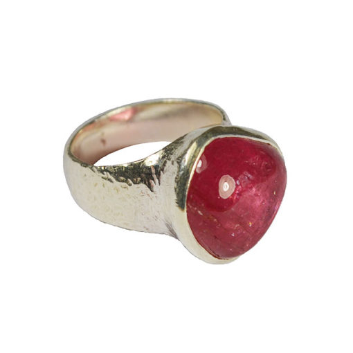 strawberry pink tourmaline ring silver