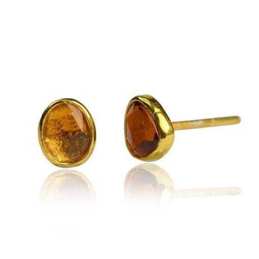 amber tourmaline stud earrings
