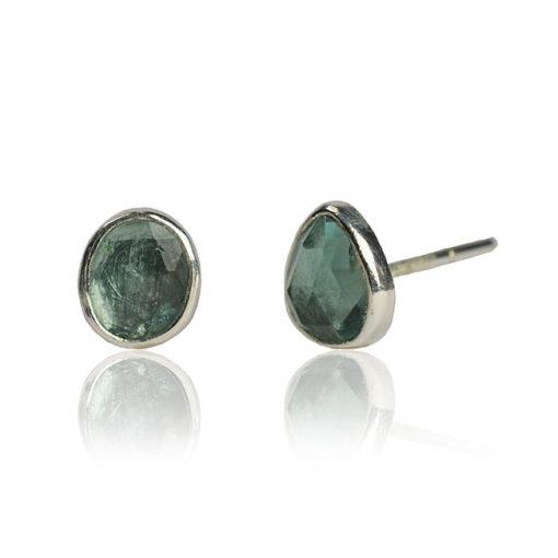 aquamarine stud earrings silver
