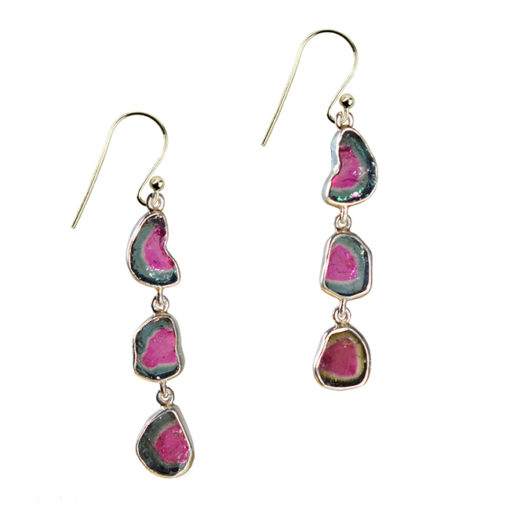 water melon tourmaline drop earrings silver tara