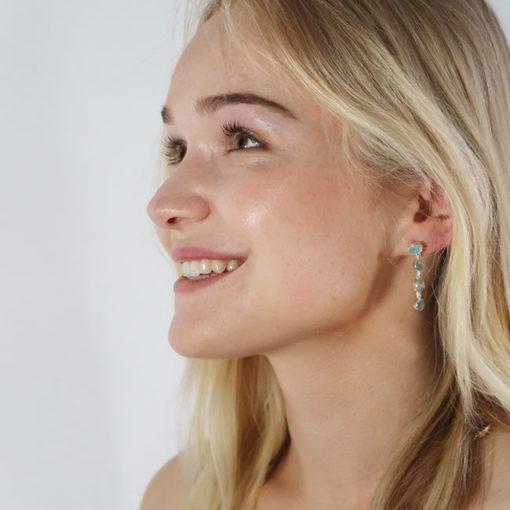 aquamarine stud earrings silver tara