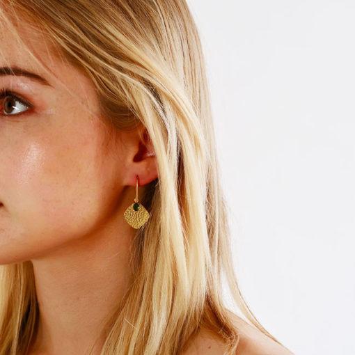 green tourmaline disc earrings