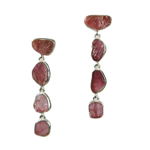 pink tourmaline stud drop silver earrings