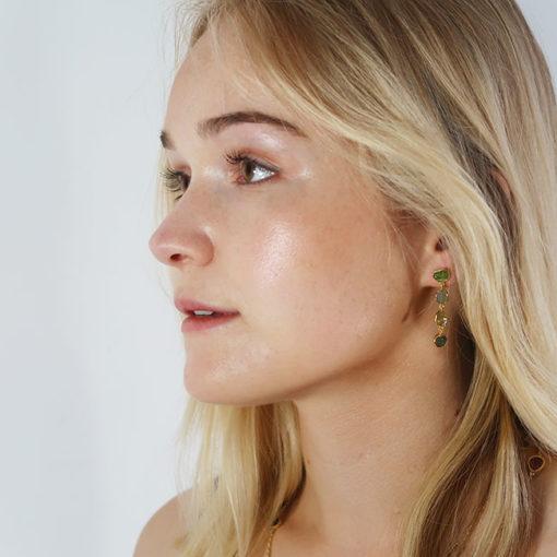 tara stud earrings green tourmaline