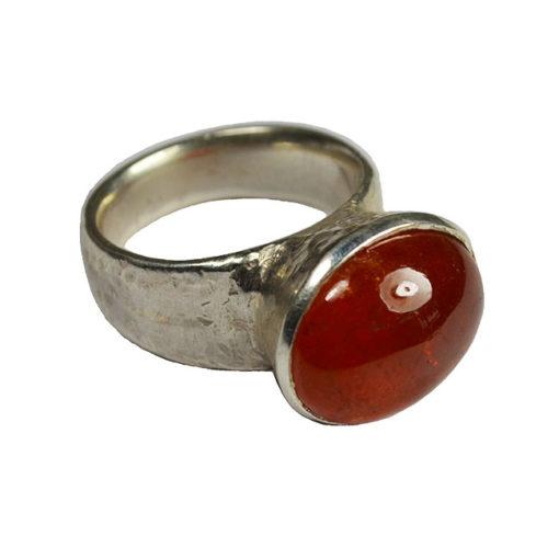 mandarin garnet silver cocktail ring