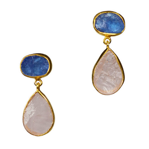 tanzanite rose quartz earrings tallulah