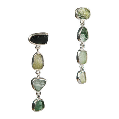 green tourmaline stud earrings silver