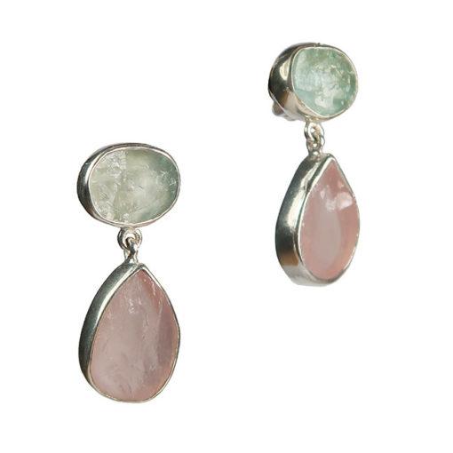 tallulah earrings aquamarine morganite silver