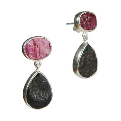 tallulah earrings ruby black tourmaline silver