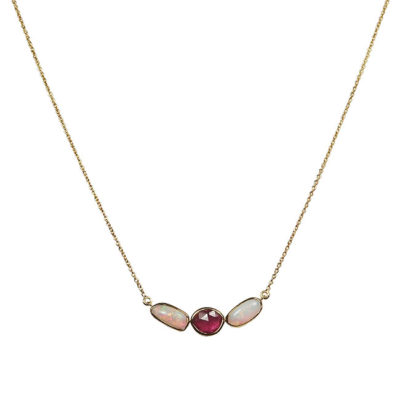 ruby opal 18ct gold necklace