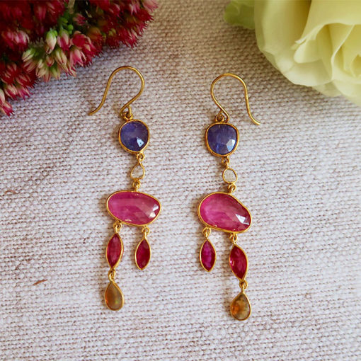ruby tanzanite 18ct gold earrings