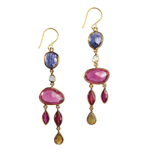 ruby tanzanite diamond 18ct gold earrings