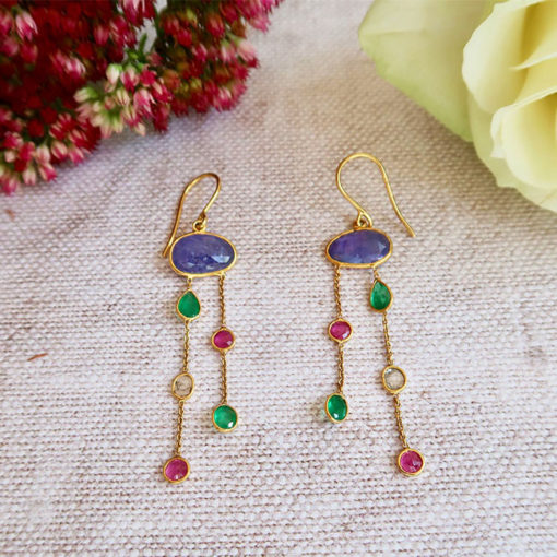 tanzanite emerald ruby 18ct gold earrings