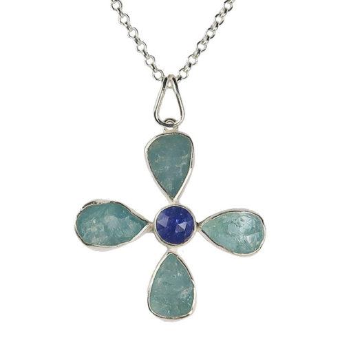 silver aquamarine tanzanite flower pendant