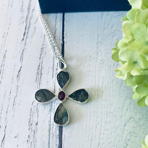 silver labradorite pink tourmaline flower pendant 2