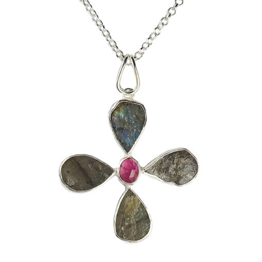silver labradorite pink tourmaline flower pendant