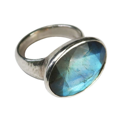labradorite silver cocktail ring