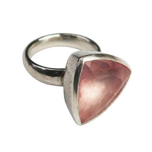 rose quartz silver cocktail ring