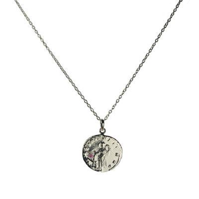 amethyst antique coin pendant necklace silver