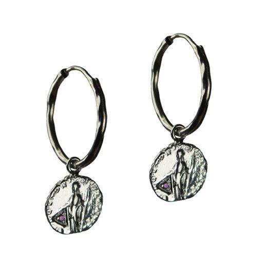 amethyst coin hoop earrings silver