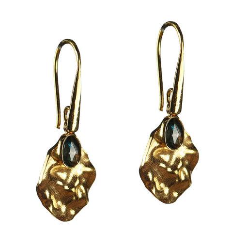 blue topaz leaf drop earrings