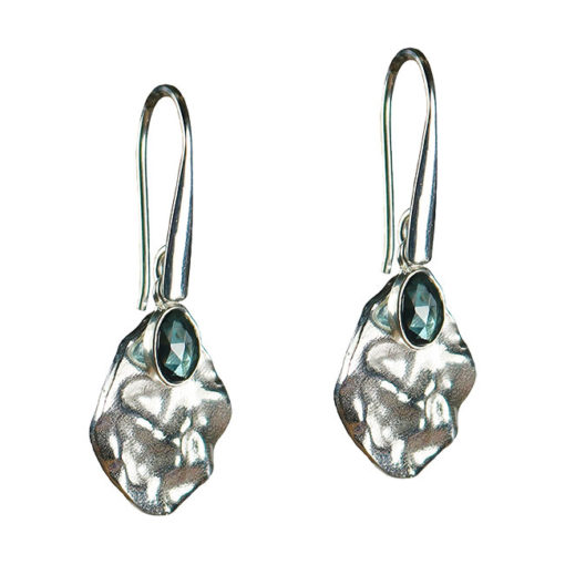 blue topaz leaf drop earrings