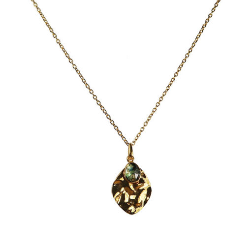 blue topaz leaf pendant necklace