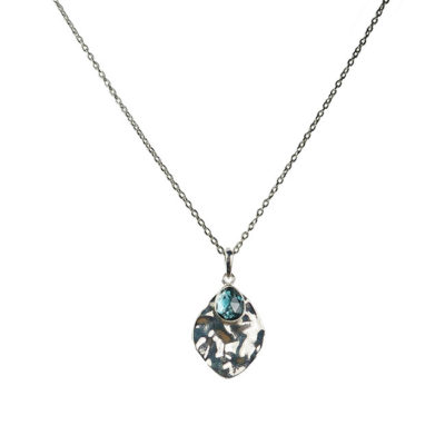 blue topaz leaf pendant necklace silver