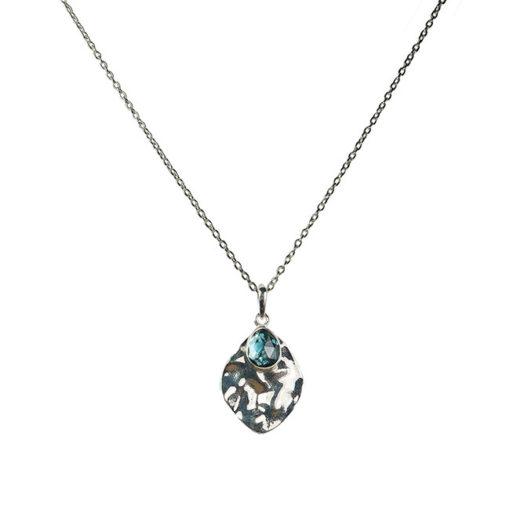 blue topaz leaf pendant necklace silver