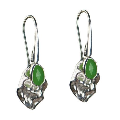 chrysoprase leaf drop earrings silver