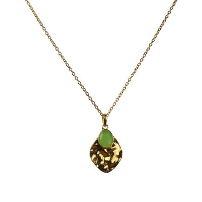 chrysoprase leaf pendant necklace