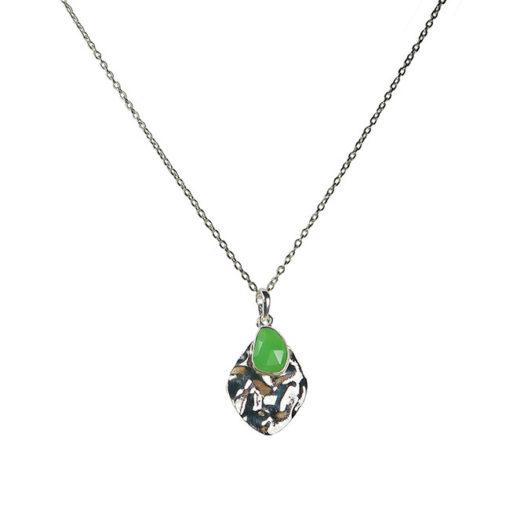 chrysoprase leaf pendant necklace silver