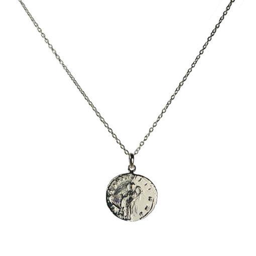 diamond antique coin pendant necklace silver