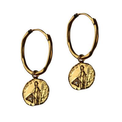 diamond coin hoop earrings