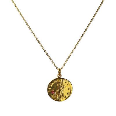 garnet antique coin pendant necklace
